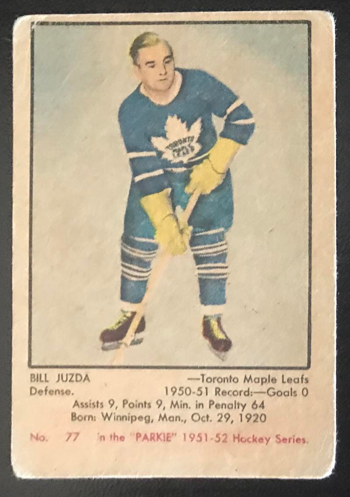 1951-52 Parkhurst #77 Bill Juzda RC Rookie Maple Leafs Vintage Hockey