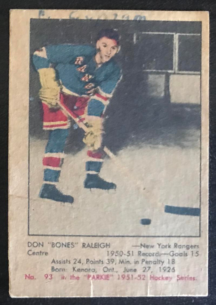 1951-52 Parkhurst #93 Don Raleigh RC Rookie Rangers Vintage Hockey
