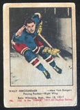 1951-52 Parkhurst #100 Wally Hergesheimer RC Rookie Rangers Vintage Hockey