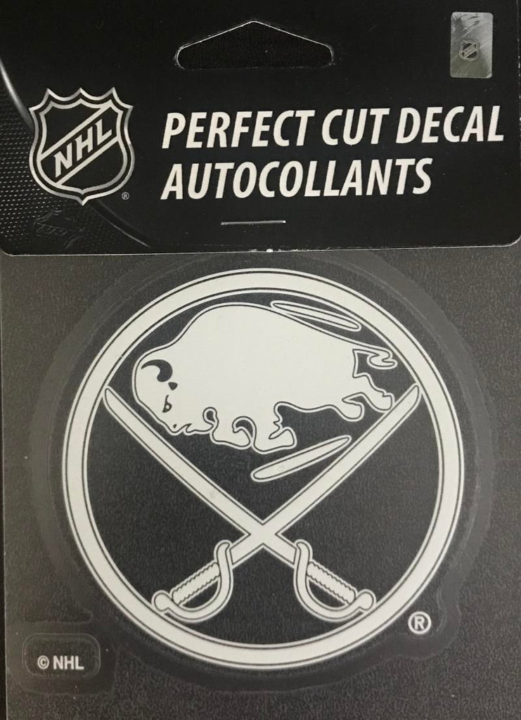 "Buffalo Sabres Perfect Cut WHITE 4""x4"" NHL Decal Sticker"