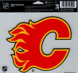 "Calgary Flames Multi-Use Decal Sticker 5""x6"" Clear Back"