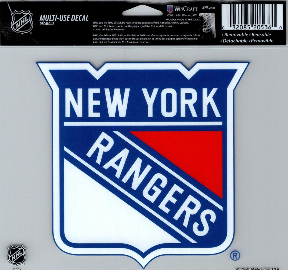 "New York Rangers Multi-Use Decal Sticker 5""x6"" Clear Back"