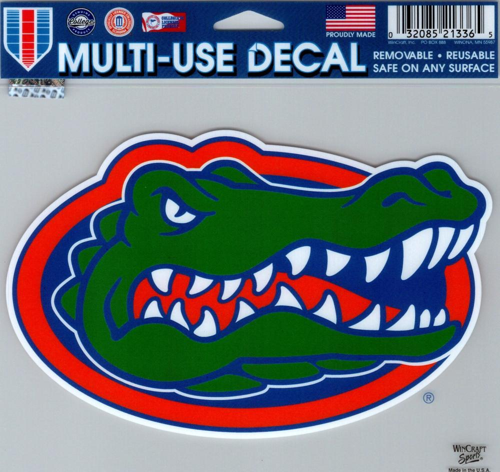 "University of Florida Multi-Use Decal Sticker 5""x6"" Clear Back"
