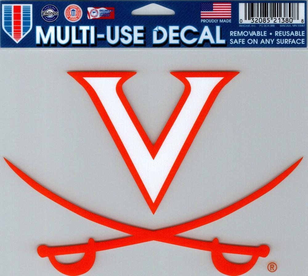 "University of Virginia Multi-Use Decal Sticker 5""x6"" Clear Back"