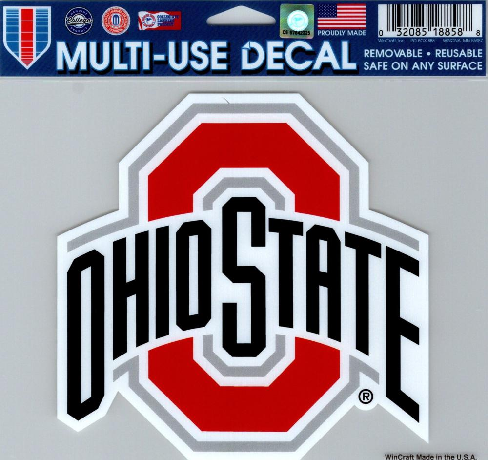 "Ohio State University Multi-Use Decal Sticker 5""x6"" Clear Back"