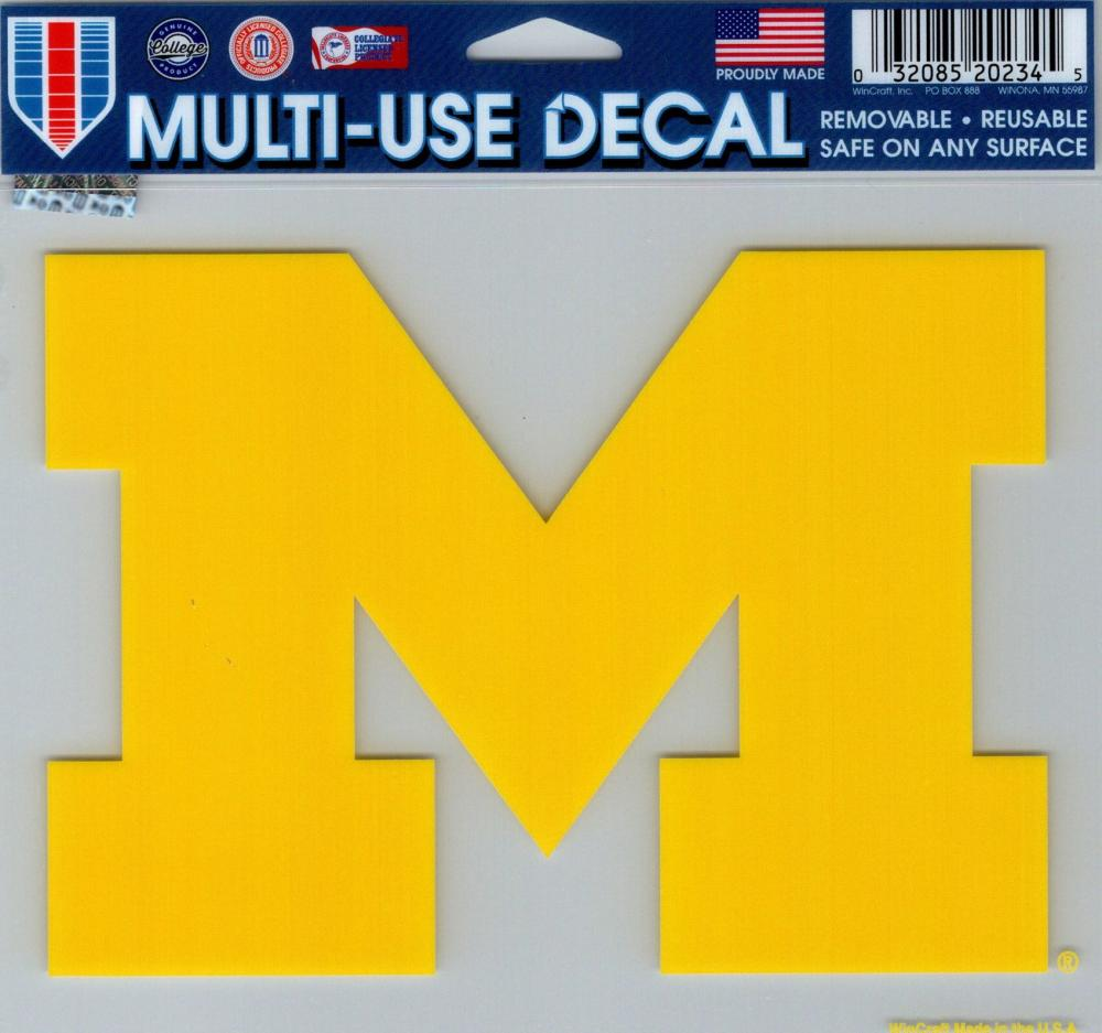 "University of Michigan Multi-Use Decal Sticker 5""x6"" Clear Back"