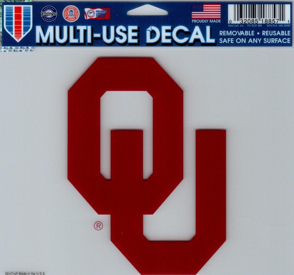 "University of Oklahoma Multi-Use Decal Sticker 5""x6"" Clear Back"