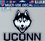 "University of Connecticut Multi-Use Decal Sticker 5""x6"" Clear Back"
