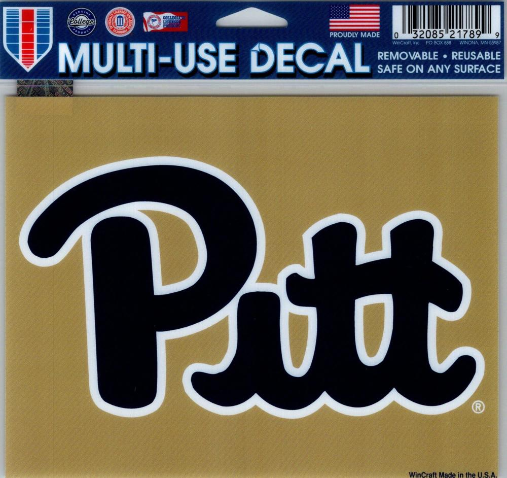 "University of Pittsburgh Multi-Use Decal Sticker 5""x6"" Clear Back"