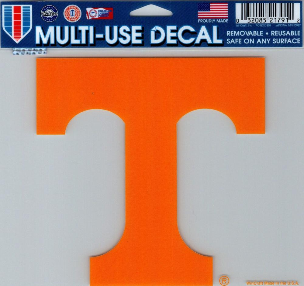 "University of Tennessee Multi-Use Decal Sticker 5""x6"" Clear Back"