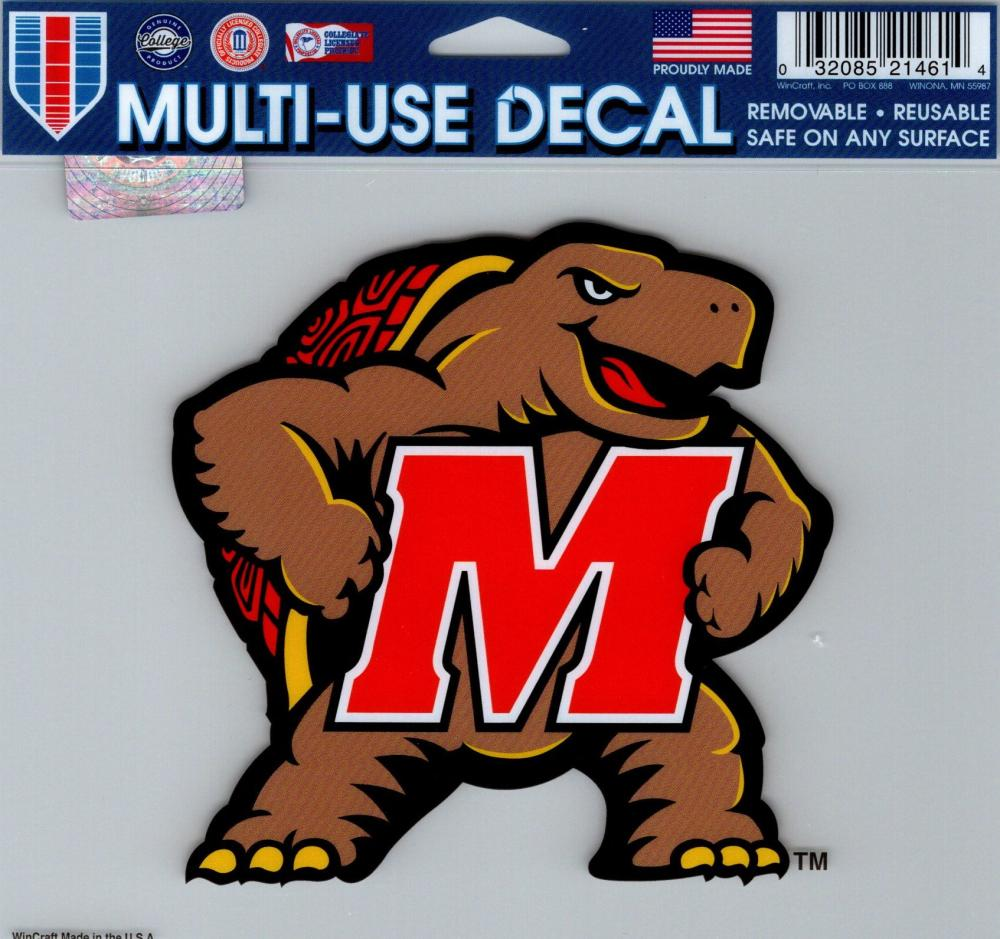 "University of Maryland Multi-Use Decal Sticker 5""x6"" Clear Back"