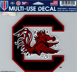 "University of South Carolina Multi-Use Decal Sticker 5""x6"" Clear Back"