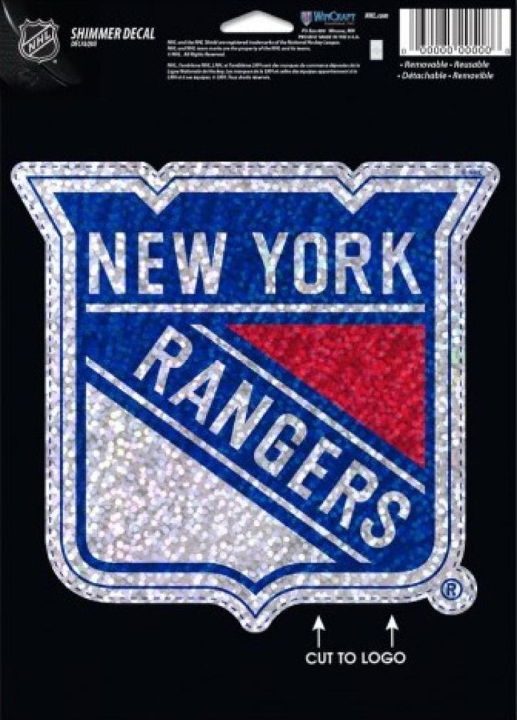 "New York Rangers Holographic Shimmer 5""x7"" NHL Perfect Cut Sticker Decal"