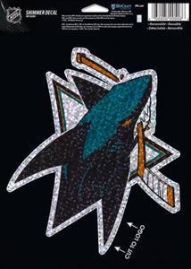 "San Jose Sharks Holographic Shimmer 5""x7"" NHL Perfect Cut Sticker Decal"
