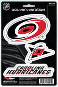 "Carolina Hurricanes 8"" x 5.25"" Die-Cut Premium Vinyl Decal Sheet Set of 3"
