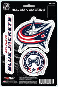"Columbus Blue Jackets 8"" x 5.25"" Die-Cut Premium Vinyl Decal Sheet Set of 3"
