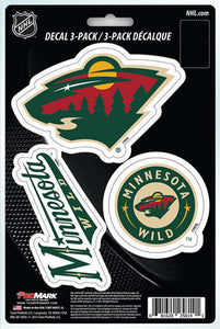 "Minnesota Wild 8"" x 5.25"" Die-Cut Premium Vinyl Decal Sheet Set of 3"