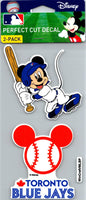 Toronto Blue Jays Disney Mickey Perfect Cut Decal/Sticker Set of 2 MLB 4x4