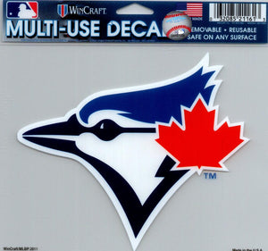 "Toronto Blue Jays Multi-Use Decal Sticker MLB 5""x6"" Clear Back"