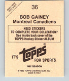 1982-83 Topps Stickers #36 Bob Gainey NHL Hockey 06895
