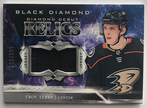 2018-19 Upper Deck Black Diamond Debut Relics Troy Terry 200/299 Jersey 07255