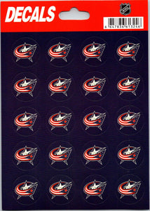"Columbus Blue Jackets Vinyl Sticker Sheet 5""x7"" Decals - 1"" Round x20"