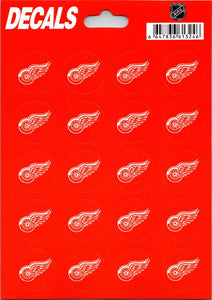 "Detroit Red Wings Vinyl Sticker Sheet 5""x7"" Decals - 1"" Round x20"