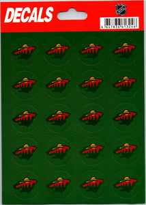 "Minnesota Wild Vinyl Sticker Sheet 5""x7"" Decals - 1"" Round x20"