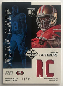 2013 Panini Limited Blue Chip Jerseys Marcus Lattimore 1/99 Mint 07449