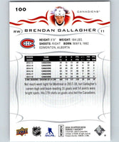 2018-19 Upper Deck #100 Brendan Gallagher Mint Montreal Canadiens