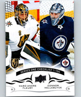 2018-19 Upper Deck #199 Marc-Andre Fleury/Connor Hellebuyck Mint Golden Knights/Jets