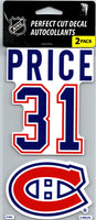 Montreal Canadiens Carey Price Perfect Cut Decal/Sticker Set of 2 NHL 4x4