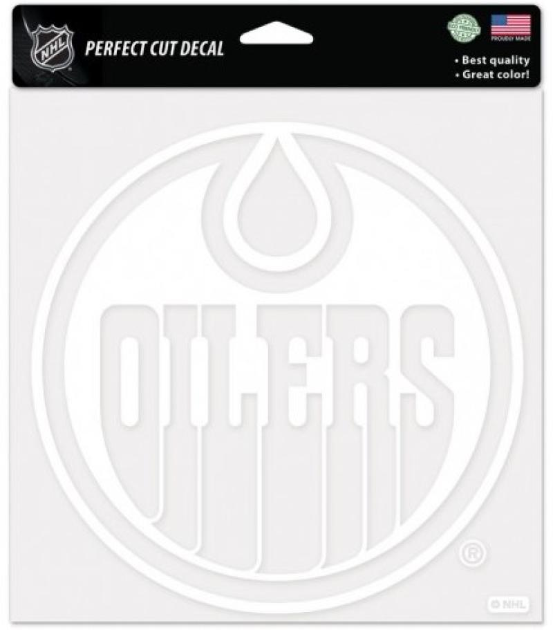 "Edmonton Oilers White Perfect Cut 8""x8"" Large Licensed Decal Sticker"