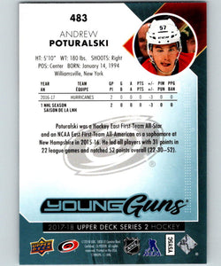 2017-18 Upper Deck #483 Andrew Poturalski Young Guns MINT RC Rookie Y861