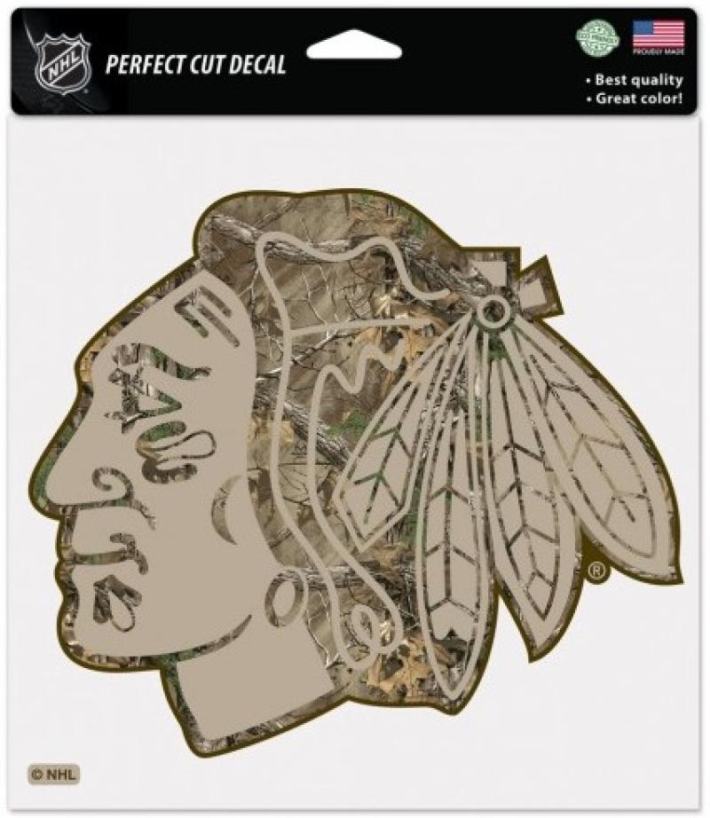 "Chicago Blackhawks Camo Perfect Cut 8""x8"" Large Licensed Decal Sticker"
