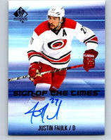 2015-16 SP Authentic Signs of the Times Justin Faulk NHL MINT Auto 07646