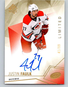 2015-16 SP Authentic Limited Autographs #33 Justin Faulk 41/99 Auto 07653