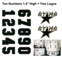Dallas Stars NHL Hockey Helmet Decals Set + Two Logos