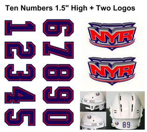 New York Rangers NHL Hockey Helmet Decals Set + Two Logos
