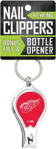 Detroit Red Wings Nail Clipper Keyring w/Bonus File & Bottle Opener