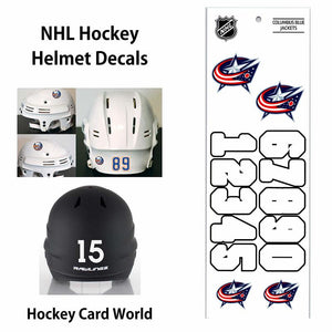 Columbus Blue Jackets (WHITE) NHL Hockey Helmet Decals Sticker Sheet
