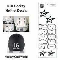Dallas Stars (WHITE) NHL Hockey Helmet Decals Sticker Sheet