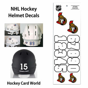 Ottawa Senators (WHITE) NHL Hockey Helmet Decals Sticker Sheet