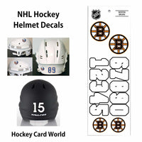 Boston Bruins (WHITE) NHL Hockey Helmet Decals Sticker Sheet