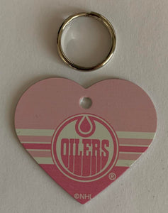 Edmonton Oilers NHL Hockey Pink Heart ID Tag with Ring - Pets, People etc