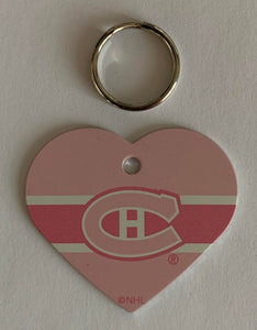 Montreal Canadiens NHL Hockey Pink Heart ID Tag with Ring - Pets, People etc
