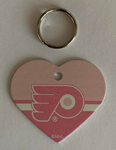 Philadelphia Flyers NHL Hockey Pink Heart ID Tag with Ring - Pets, People etc