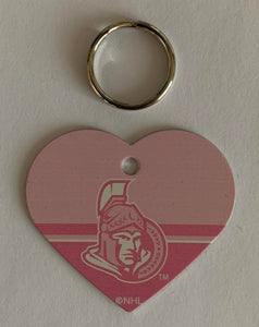 Ottawa Senators NHL Hockey Pink Heart ID Tag with Ring - Pets, People etc