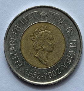 2002 Canadian $2 Coin Two Dollar Canada - Queen's Golden Jubilee *8036
