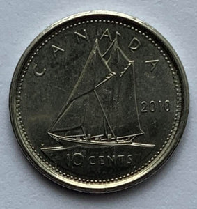 2010 Canadian 10 Cent Dime Canada Coin *8038